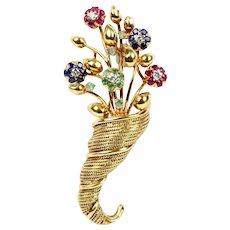 Tiffany & Co 18K Gold Diamond Emerald Ruby Sapphire Flower Bouquet Tremblant Brooch
