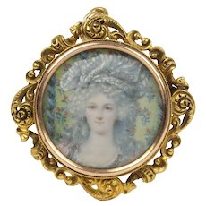 Late Victorian Painted Portrait of a Woman 14K Gold Frame Pendant Pin Split Ring