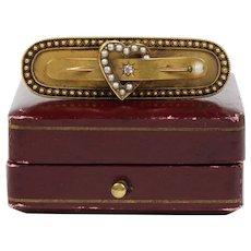 Victorian English CA 1893 15K Gold Diamond and Seed Pearl Heart Bar Pin