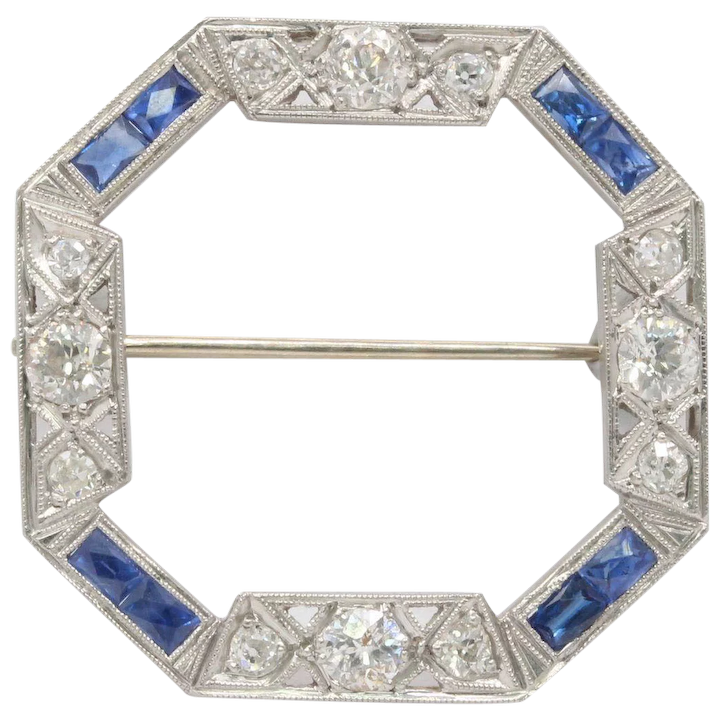 1eed03fbf Art Deco Platinum Diamond and Sapphire Octagonal Circle Pin Brooch : Alpha  and Omega Vintage Jewelry   Ruby Lane