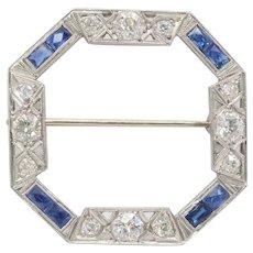 Art Deco Platinum Diamond and Sapphire Octagonal Circle Pin Brooch