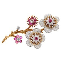 Platinum and 18K Gold 7 Carat Diamond and 3 Carat Ruby Flower Brooch