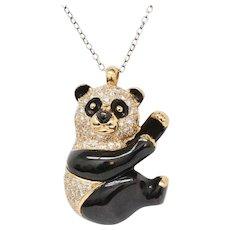 Vintage 18K Gold and Diamond Enamel Panda Pin and Pendant