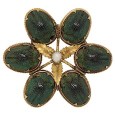 Rare Victorian 14K Gold Real Scarab Novelty Brooch Pin