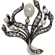 Victorian 1.8 Carat Diamond and Pearl Gold and Silver Flame Brooch Pin
