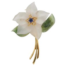 Vintage Austrian Carved Crystal, Jade and Sapphire 18K Gold Flower Pin