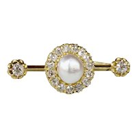 Antique GIA Natural Saltwater Pearl and 1.3 Carat Diamond 20K Gold Bar Pin
