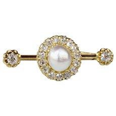 Antique GIA Natural Saltwater Pearl and 1.3 Carat Diamond 20K Gold Bar Pin