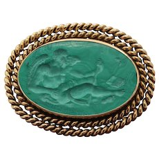 Vintage Malachite Intaglio of Saturn Cronos in 14K Gold Brooch Pin