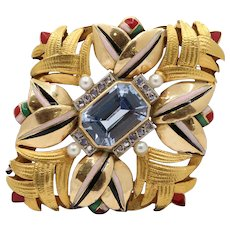 Art Deco 18K Gold Natural Spinel Diamond and Enamel Geometric Brooch