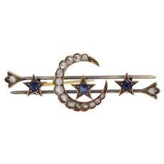 Victorian Star and Crescent Sapphire & 1.2 Carat Diamond 15K Gold Bar Pin