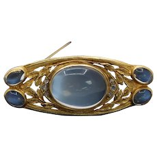 Art Nouveau Moonstone Diamond and 14K Gold Foliate Brooch Pin