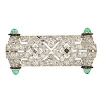 French Art Deco Diamond and Emerald Black Enamel Platinum Brooch