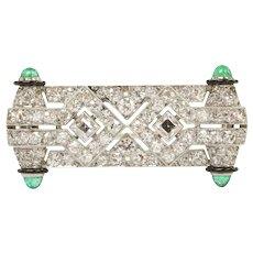 French Art Deco Diamond and Emerald Black Enamel Platinum Brooch