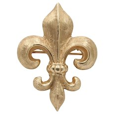 Antique 14K Gold Fleur De Lis Watch Fob Pin