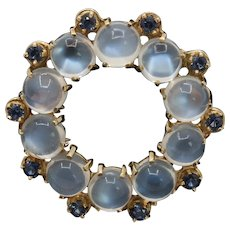 Vintage Moonstone and Sapphire 14K Gold Circle Brooch Pin