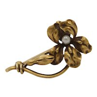 Art Nouveau Whiteside & Blank 14K Gold and Pearl Orchid Iris Flower Pin