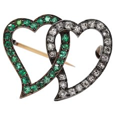 Georgian Demantoid Garnet and Peruzzi Cut Diamond Witch's Heart Brooch Pin
