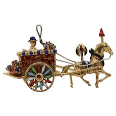 Vintage 18K Gold and Enamel Horse and Carriage Fairytale Brooch Pin