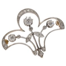 Edwardian 1 Carat Diamond Platinum and 18K Gold Fleur de List Brooch Pendant
