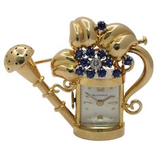 Midcentury Bucherer 18K Gold Sapphire Diamond Watering Can Watch Brooch