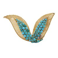 Vintage French 18K Gold and Turquoise Bird Wings Brooch Clip