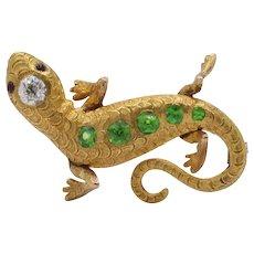 Victorian Demantoid Garnet Diamond and 18K Gold Lizard Brooch Pin