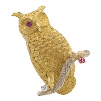 Vintage 18K Gold Diamond and Ruby Owl Pin Brooch