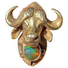 Vintage 14K Gold and Opal Ox Buffalo Brooch Pin