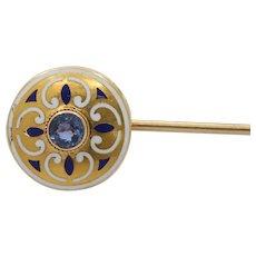 Art Nouveau Krementz Sapphire and Enamel 14K Gold Stick Pin