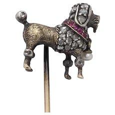 Art Deco Platinum and Gold Diamond Poodle Dog Stick Pin