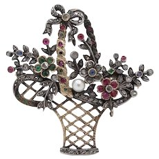 French Victorian 18K Gold Silver Diamond Gemstone Giardinetti Flower Brooch