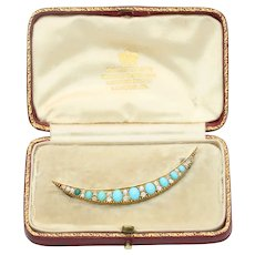 Victorian 15K Gold Turquoise and Diamond Crescent Moon Brooch