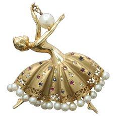 Vintage 14K Gold Diamond Ruby Sapphire Ballerina Dancer Brooch Pin