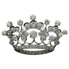 Antique Platinum and 14K Gold 3.5 Carat Diamond Crown Tiara Royal Brooch Pin