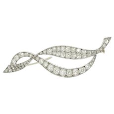 French Midcentury Platinum and 4.3 Carat Diamond Abstract Swirl Brooch Pin
