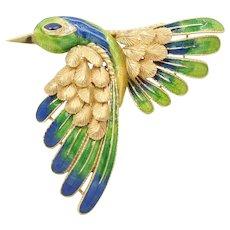 Vintage Mauboussin Paris 18K Gold Enamel Hummingbird In Flight Brooch Pin