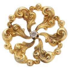 Art Nouveau 14K Gold and Diamond Swirl High Relief Brooch Pin