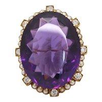 Victorian 51 Carat Amethyst Diamond and Pearl 15K Gold Pendant Brooch