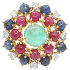 Vintage Emerald Sapphire Ruby and Diamond Cluster 18K Gold Brooch Pin