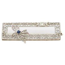 Art Deco 14K Gold Sapphire & Diamond Filigree Rectangular Bow Pin