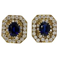 Vintage Octagonal Natural Sapphire and Diamond Clip Earrings
