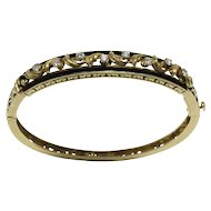 Vintage Diamond and Black Enamel 14K Gold Stacking Bangle Bracelet