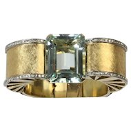 Dramatic Statement 70 Carat Aquamarine and Diamond 18K Gold Retro Bracelet Bangle