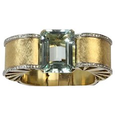 Dramatic Statement 70 Carat Aquamarine and Diamond 18K Gold Retro Bracelet Bangle