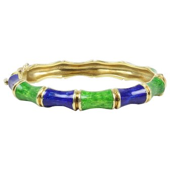 Vintage 18K Gold Martine Green and Blue Enamel Bamboo Bangle Bracelet
