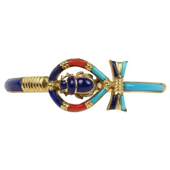 Egyptian Scarab and Ankh 18K Gold Lapis Coral Bangle Bracelet