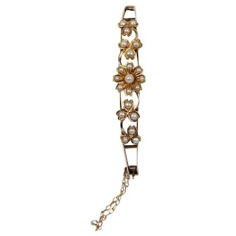 Victorian Natural Pearl and 14K Gold Flower and Clover Bangle Bracelet