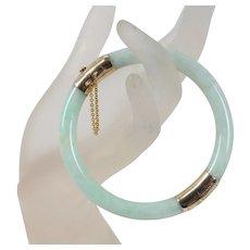 Vintage Green and White Mottled Jadeite Jade 14K Gold Bangle Bracelet