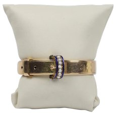 Victorian 14K Gold Blue Enamel and Split Pearl Buckle Bangle Bracelet